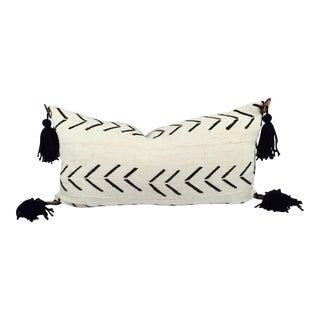 African Mud Cloth Pompom Lumbar Pillow