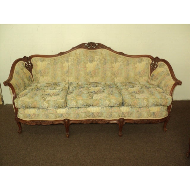 Antique French Provincial Sofa & Chair - A Pair - Image 4 of 11