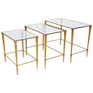 1950 Italian Brass Nesting Table - Set of3