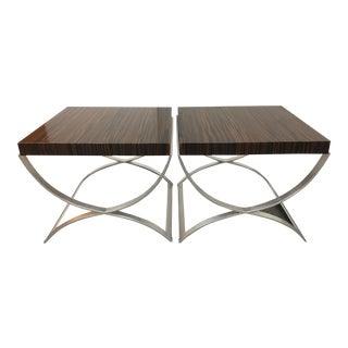 Newman Frey Macassar Ebony Veneered Side Tables - A Pair