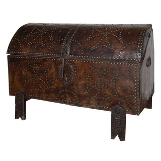 18th Century French Leather Trunk