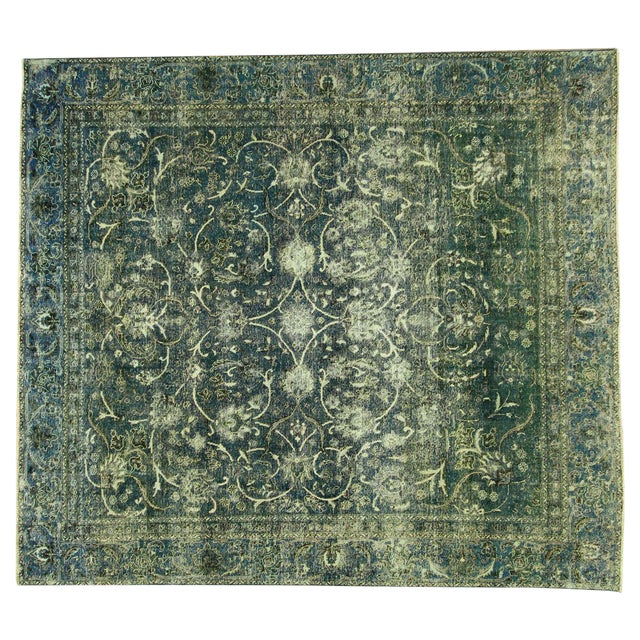 """Oriental Overdyed Tabriz Floral Rug - 9'2"""" x 10'2 - Image 1 of 11"""