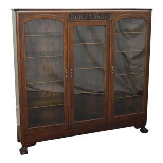 Antique Victorian Oak Claw Foot 3 Door Bookcase