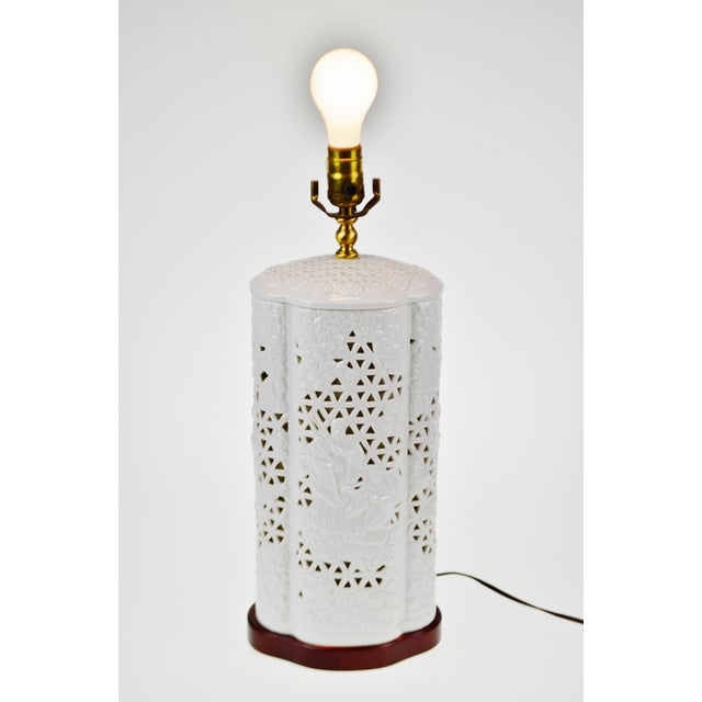 Seyei Blanc De Chine Reticulated Porcelain Lamp - Image 2 of 11