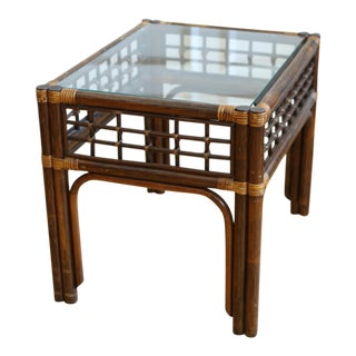 Bamboo and Wicker Glass Top Side Table