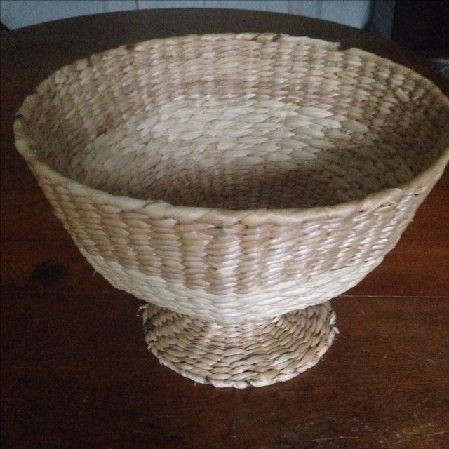 Vintage Natural Straw Pedestal Bowl - Image 4 of 11