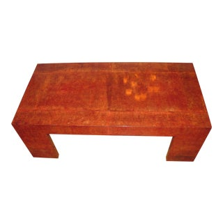 Karl Springer Red Lacquered Goatskin Parchment Coffee Table