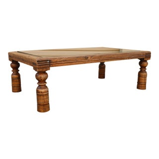 Rustic Metal and Wood Coffee Table w/ Glass Top