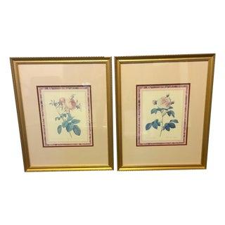 Vintage Rose Framed Pictures - Pair