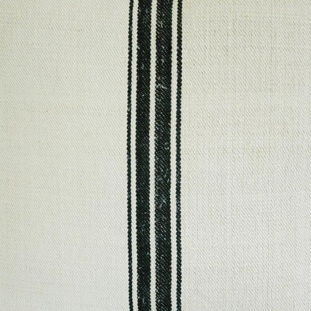 French Black Stripe Grain Sack Pillows - Pair - Image 5 of 8