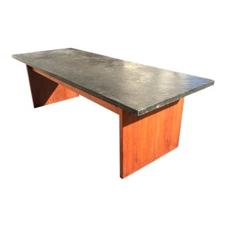 Mid-Century Teak With Slate Top Coffee Table