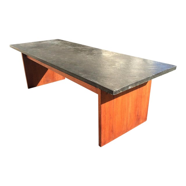 Mid century teak with slate top coffee table chairish Slate top coffee tables