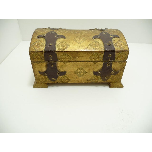 Vintage Wood Gold Gilt Florentine Dome Top Trunk Keepsake Box Italy - Image 4 of 7