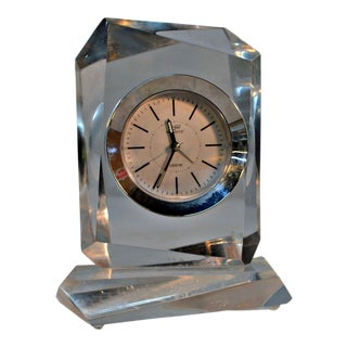 Lucite Alarm Clock Faceted Asymmetrically