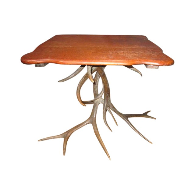 Image of Oak Top Table With Antler Base