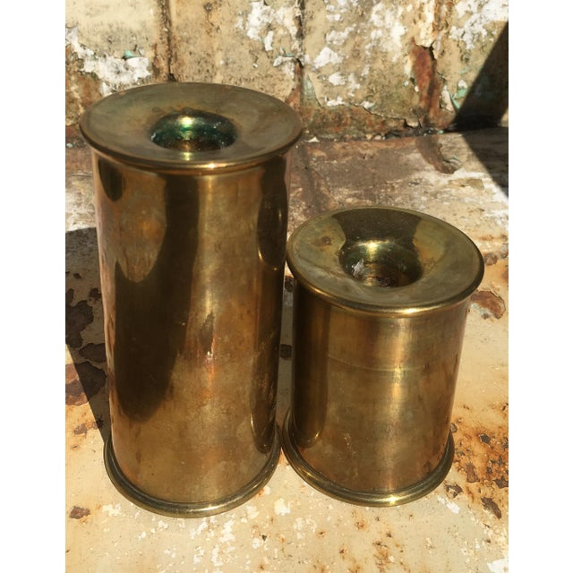 Vintage Cylindrical Brass Candle Holders - A Pair - Image 6 of 6