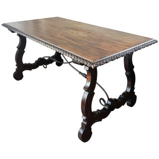 19th Century Trestle Table with Lyre Legs and Iron Stretcher