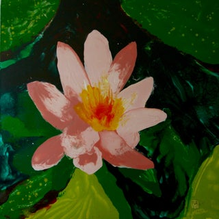 Lotusland Pink & Green Oil Painting