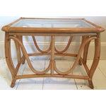 Image of Vintage Bent Wood Rattan Side Table