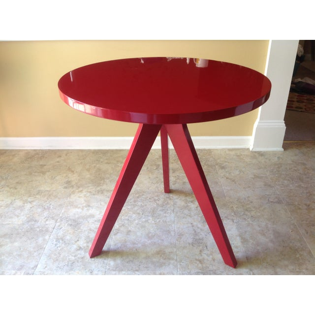 CB2 Modern Red Lacquered Tripod Table - Image 3 of 4
