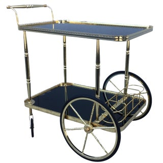 1960s French Brass Bar Cart