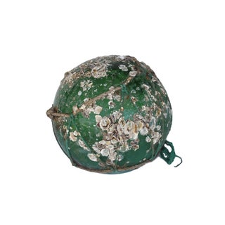 Large Green Fishing Float with Barnacles & Rope