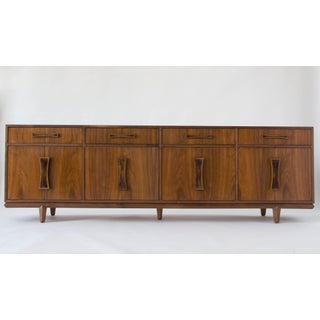 Cal-Mode Four-Bay Walnut Credenza with Inlaid Handles
