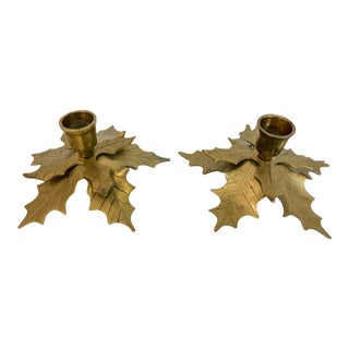 Brass Holly Candle Holders - A Pair