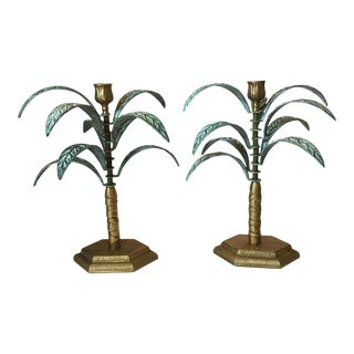 Brass Palm Tree Candle Holders - A Pair