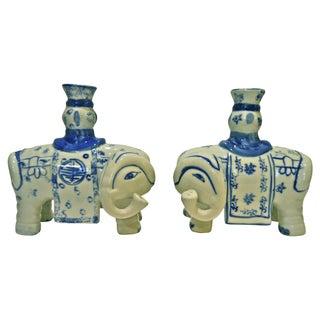 Blue & White Elephant Candleholders - A Pair