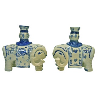 Blue & White Elephant Candleholders - A Pair