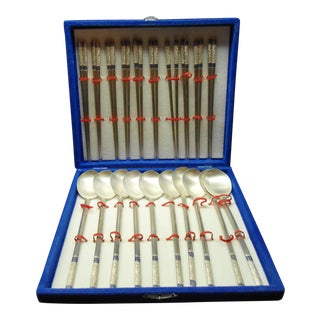 Vintage Silver Chop Sticks and Rice Spoons in Original Storage Box - Set of 10