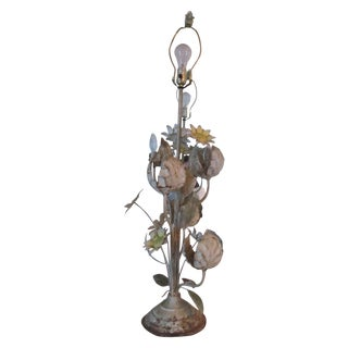 Vintage Toleware Style Floral Table Lamp