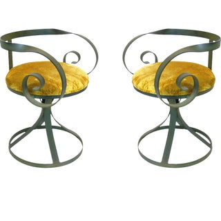 Pair of Regency Wrought Iron Curlicue Swivel Chairs in Green Patina Finish