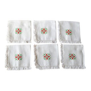 Hand Embroidered Fringed Cotton Cocktail Napkins - Set of 6