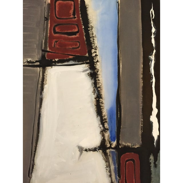Image of 1940-1950's Mid Century Gouache Maroon Abstract