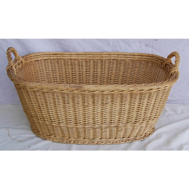 Vintage French Oval Wicker Market Basket - Image 2 of 10