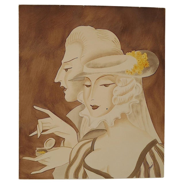 Vintage Mid 20th C. Signed Sepia Gouache Painting - Image 1 of 7