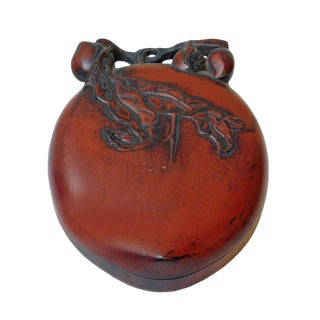 Unique Chinese Calligraphic Longevity Peach Shape Ink Stone With Box