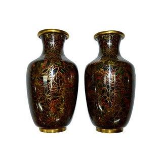 Chrysanthemum Cloisonné Vases - A Pair