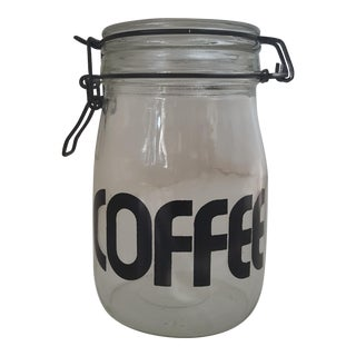 Vintage Mod Century Modern Typography Glass Coffee Jar