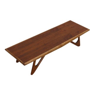 Adrian Pearsall Style Walnut Coffee Table / Bench