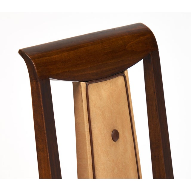 French Art Deco Solid Walnut Dining Chairs- Set of 6 - Image 9 of 11