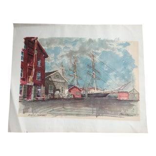 Mystic Seaport Watercolor Print