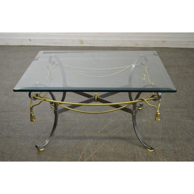 Image of LaBarge Brushed Steel & Brass Rope Tassel Square Glass Top Coffee Table