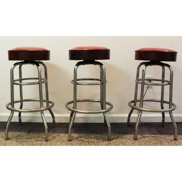 Mid Century Modern Swivel Bar Stools -- Set of 3 - Image 2 of 11