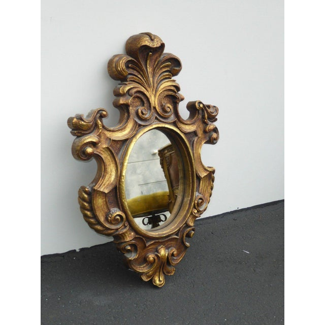Vintage Syroco Gold Floral Wall Mirror - Image 5 of 11