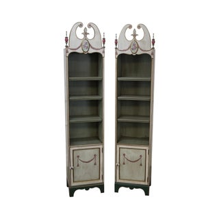 Hand Painted Narrow Bookcases - A Pair