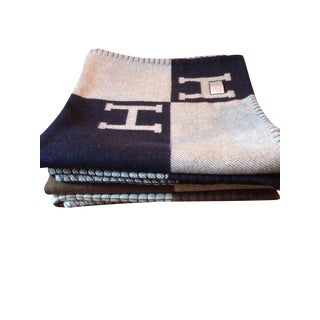 "Navy ""H"" Avalon Hermes Throw"