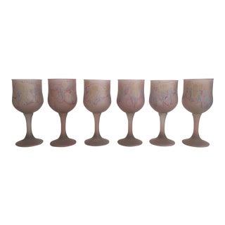 Vintage 1980s Pink Jerusalem Glass Wine Glasses - Set of 6
